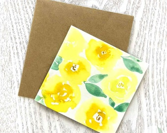 Yellow Watercolour Rose Square Cards