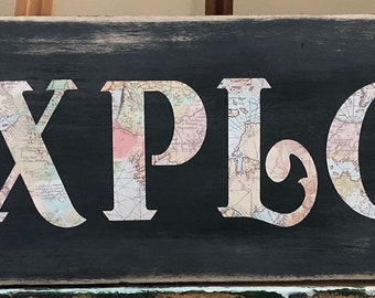 """Custom Wood """"Explore"""" Signs w/ Compass Detail"""