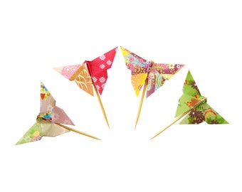 Paper Butterfly Cupcake Toppers | 12 count Origami Butterfly Party Decor