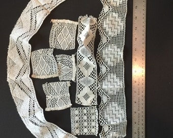 Antique Lace Lot. Bobbin Lace Trim. Handmade  Partsforyou Etsy  No.0016