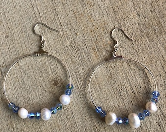 Pearls with light blue crystal earrings