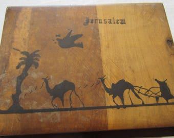 Rare Vintage Olive Wood Box Bezalal Style Jerusalem Hand Painted Bezalel Style Made in Israel Judaica
