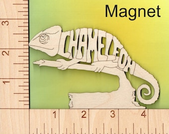 Chameleon laser cut and engraved wood Magnet
