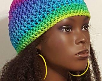 Colorful Crochet Skullcap Beanie and Earrings by Razonda Lee Razondalee