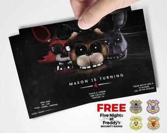 Five Nights At Freddy's Invitations / Five Nights At Freddy's Birthday Party Invitation / Foxy, Bonnie, Freddie, Main Characters / FNAF
