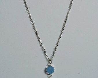 Opalite and  Blue Glass Pendant Necklace