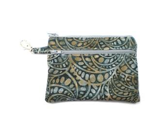 Larger Zippered Wallet Change Purse Gadget Case Art Deco Swirl in Smoke 5063