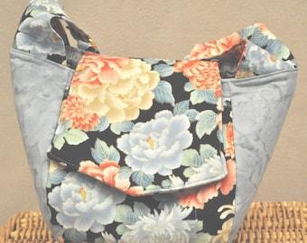 Large On The Go Handbag (Blue Asian Floral)