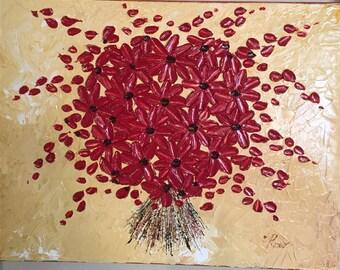 Harvest Red Blossoms, Oil Painting, Flower Impasto