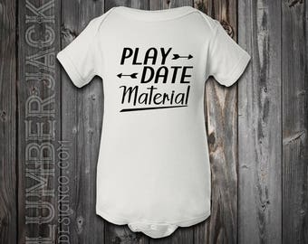 Play Date Material Short sleeve or long sleeve baby bodysuit