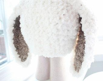 12 to 24m Crochet Baby Bunny Hat Baby Beanie, Crochet Baby Hat in Cream Brown Baby Rabbit Hat Toddler Photo Prop, Baby Gift, Bunny Costume