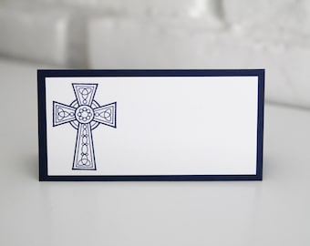 Navy Cross Baptism Place Cards Set of Twelve, First Communion Place Cards, Religious Event Decorations, Baby Christening Food Labels