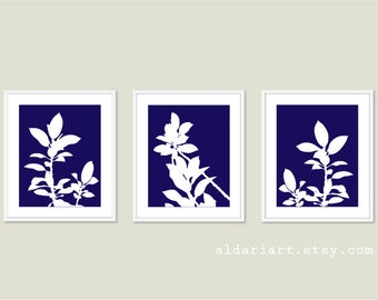 Botanical Print Set - Navy Blue and White Plants - Modern Home Decor - Botanical Wall Art - Spring Decor