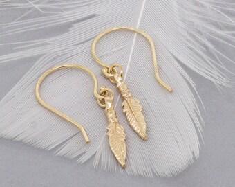Gold Feather Earrings Dangle Earrings - Feather Bohemian Earrings Mothers Day Gift - Minimal Earrings Delicate Earrings