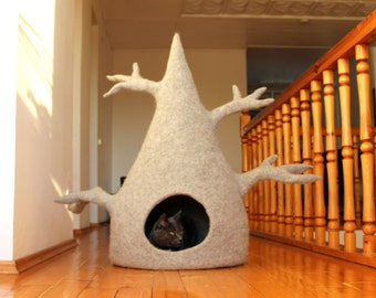Cat house - cat tree - cat bed - wool cat cave - light grey felted wool cat bed - made to order - hauswarming gift