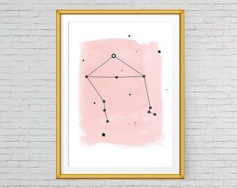Libra wall art, Printable zodiac Libra art, Libra constellation print, Large poster, Pink print, Watercolor art, Astrology print