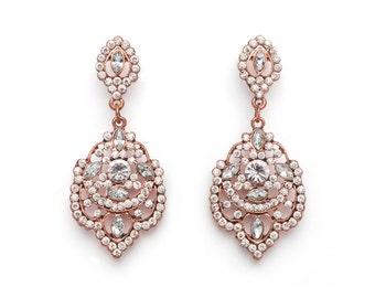 Rose Gold Vintage Chandelier Earrings, Rose Gold Chandelier Earrings, Vintage Chandelier Earrings, , Bridesmaid Earrings, Wedding, Bridal