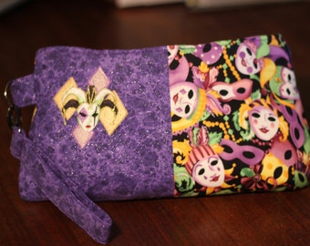 Mardi Gras * Mask * Purple  Embroidered Wristlet Clutch Purse - Sparkle Multi Color  - Small Coraline by Swoon - Ready to ship