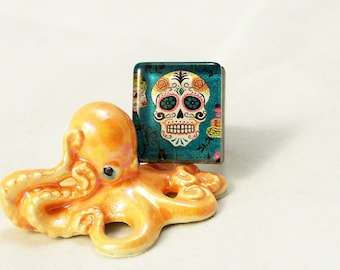 Day of the Dead Skull Glass and Metal Adjustable Ring in Black Gunmetal Finish
