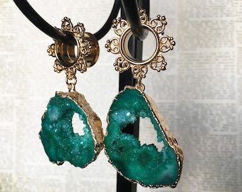 Green Agate and 14Kt Gold Plated Dangle Tunnels, Plugs, gauges  00g (12mm), 1/2 (12mm), 9/16 (14mm), 5/8 (16mm)