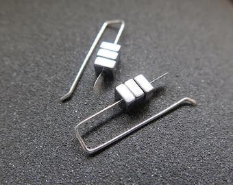 small silver earrings. simple modern earings. hematite jewelry.