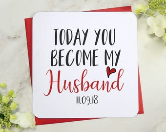Personalised today you become my husband card, wedding day card, husband to be card, bride to groom card, fiancé card uk seller