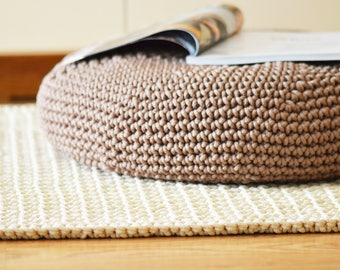 Crocheted pouf / knitted pouf / handmade floor cushion / bean bag / hassock / chair / footstool
