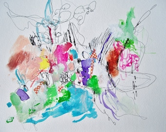 Lickety-Split- Mixed Media Original- 11x15, Colorful, Fresh Abstraction