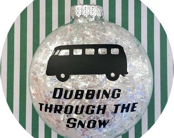 Volkswagen Bus Christmas Ornament ~ VW Kombi Dubbing through the Snow