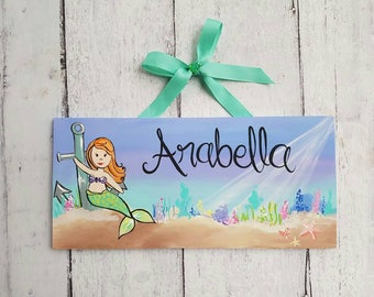 Personalized Mermaid Name Sign, Nautical, Under the Sea, Teal and Purple, Beach, Baby Name, Child's Name, Door Sign