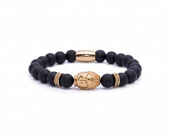 Buddha Bracelet, Gold Buddha, Onyx gemstones