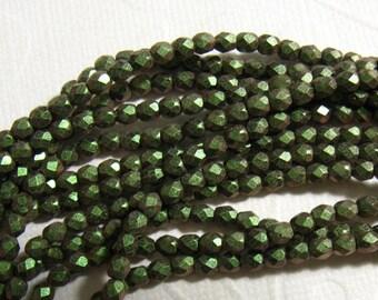 3mm Fire Polish Czech Glass Beads - Polychrome Olive Mauve 94103 - 50 beads