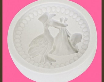 Baby 3- Stork  Cupcake Top Mould