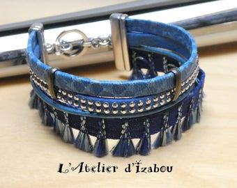 Bracelet multirangs manchette cuir reptile bleu , daim strass bleu, fil de cuir métallisé bleu et ruban bleu à pompons camaïeu de bleus