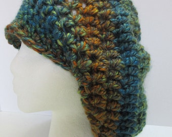 Wool Slouchy Hat Cap Beanie Mans Womans Large Multi Color Oversize Green Blue Multi Colors Dreadlocks Handmade Crochet Knit Big Hair Easter