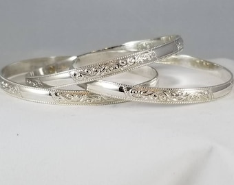 "3 ""Alma"" Moroccan Bracelets in Sterling Silver"