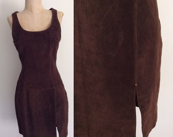 1990's Brown Suede Leather Sheath Dress