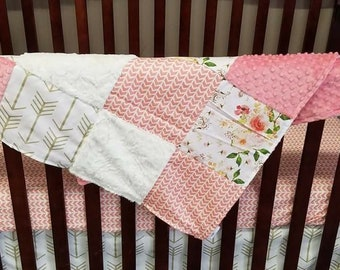 Baby Girl Crib Bedding - Western Flowers, Gold Arrows, Coral Broken Chevron, Ivory Crushed Minky, and Coral Crib Bedding Ensemble