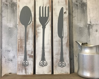Farmhouse Kitchen Decor, Silverware Sign, Fork Knife Spoon, Wood, Kitchen Art, Rustic Kitchen, Rustic Wood Signs