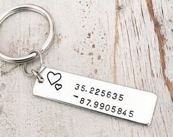 Personalized Coordinates Keychain - Anniversary Gift for Him - Wedding Location Coordinates - Latitude Longitude Gift - Birthday Gift