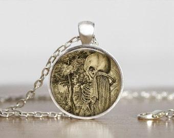 Vintage Skeleton Image Steampunk Necklace, Steampunk Jewelry