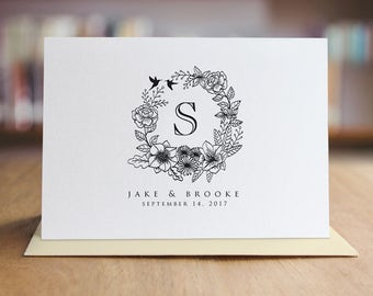 Personalized Thank You Note Card Set /  Floral Note Cards / Folded Shimmer Note Cards - Set of 10 Cards - T205
