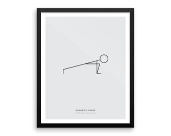 Yoga Pose Print: Runner's Lunge Print, Minimalist Wall Art, Yoga Wall Decor, Health and Fitness Poster, Modern Minimal Art - Physical Print