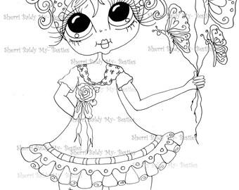 INSTANT DOWNLOAD Digital Digi Stamps Big Eye Big Head Dolls Digi  IMG873  By Sherri Baldy