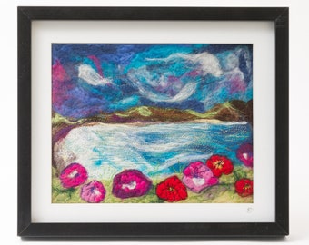 Original Textile Art Framed Picture - Flowers by the Sea