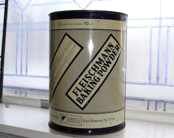10 Lb Fleischmann Baking Powder Tin Vintage 1950s Kitchen Decor