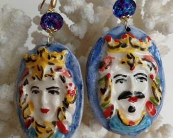 Caltagirone and silver ceramic earrings, Sicilian earrings