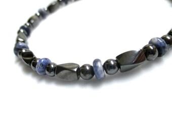 Magnetic Hematite Bracelet With Sodalite, Magnetic Jewelry, Gemstone Bracelet, Sodalite Bracelet, Healing Bracelet, Blue Bracelet