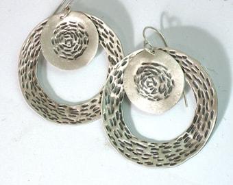 Silver Round Earrings, Silver Loop Earrings, Silver Dangle Earrings, Sterling Silver Earrings, Large Drop Earrings, Hammered Silver Disks