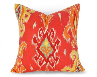 Boho Pillows, Ikat Pillow Covers, Spring Pillows, Colorful, Throw Pillows, Orange Pillow, Red Orange, Pink Coral, Floor Cushions, 18, 20, 26